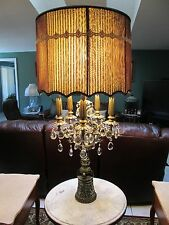 1960's CRYSTAL LAMP WITH ATTACHED MARBLE TABLE