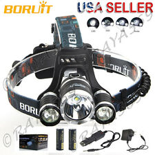 GENUINE BORUIT Headlamp Head Light Torch 30W 12000LM 3X XML6 LED