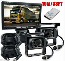 """Car Rear View Kit For Bus Truck  7"""" LCD Monitor+2x CCD Backup Camera 2x10M Cable"""