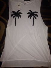 Victorias Secret Pink Palm Tree Side Slit Tank Top Swim Cover Up S Nwt
