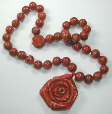 Necklace with Red Coral Beads & Rose