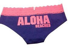 Victorias Secret Lace Hipster Panty Cotton Blend Purple Aloha Graphics Regular M