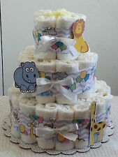 3 Tier Circus Zoo Lavender Chevron Diaper Cake Baby Shower Centerpiece Boy Girl