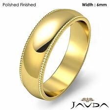 Solid Men Wedding Band Dome Milgrain Edge Ring 6mm 18k Gold Yellow 8.9g 11-11.75