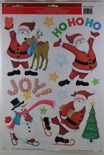 Christmas Holiday Santa Reindeer Snowman Tree Window Clings Indoor Outdoor