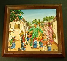 """Latin American Folk Art Painting on Canvas 14 3/4"""" x 13 1/4"""" framed Colorful"""