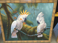"""Bamboo Framed Oil Painting of """"Two White Cockatoos"""" in the Jungle 26"""" X 22"""""""