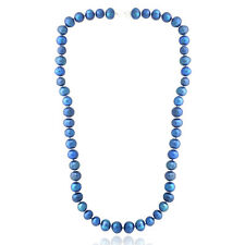 """Dark Blue Freshwater Cultured 8-9mm Pearls Necklace, 18"""""""