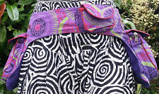 Colourful Two Pouch Bum Bag, Money Belt, Bright Spiral Pattern Blue Pink Purple