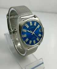 Vintage Citizen 63-1230 NOS hand winding watch Cal1800 with date Deep blue 70's
