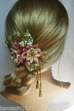 Franzözische Haarspange Haarschmuck Kanzashi Brautschmuck Stoffblumen Handmade