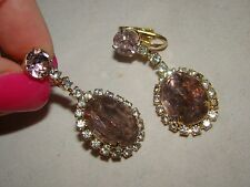 Vintage Gold Tone Metal with Light Pink Faceted Stone Dangle Clip-on Earrings