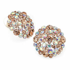 rose gold tone peach earring stud diamante wedding bridal crystal 29605