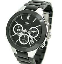 BRAND NEW DKNY BLACK DIAL CHRONOGRAPH BLACK CERAMIC WOMEN'S WATCH NY4914