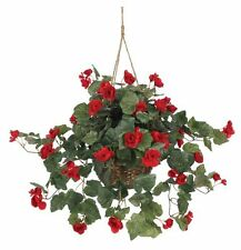 Nearly Natural 6616 Begonia Hanging Basket- Red NEW
