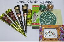 Henna Tattoo Kit- 2 Brown 2 black Henna oil stencils glitter bindi -xcellent kit