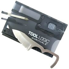 TOOL LOGIC SVC2 Survival Credit Card Knife with Fire Starter/Light, Charcoal