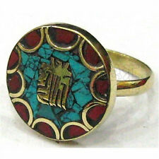 Delicate Tibetan Turquoise Coral Carved Golden Kalachakra Syllable Amulet Ring