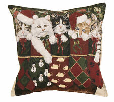 """17"""" Christmas KITTENS Cat Stocking Holiday Tapestry Cushion Pillow"""