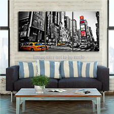 Yellow Cab in New York City Street B&W Poster Picture PRINT Art Decor No Framed