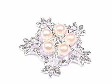 MT45-5pcs 35mm Stick On Diamante & Pearl SNOWFLAKE FLOWER Crystal TOPPERS