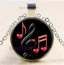 Music Note Photo Cabochon Glass Tibet Silver Chain Pendant Necklace#1I0