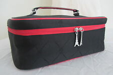 Large Lancome Black and Red Trim Makeup Train Case with Eiffel Tower zip pull