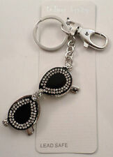 Rhinestone Bling Sunglasses Black Shades Glasses Key Chain Purse Fob