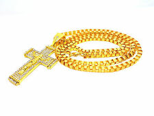 GOLD Box Chain Hip Hop Necklace Micro-paved Clear Crystal Jesus Cross Pendant