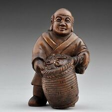 "1940's Japanese Boxwood Netsuke ""Fish Hawker Fishermen"" Figurine Carving"