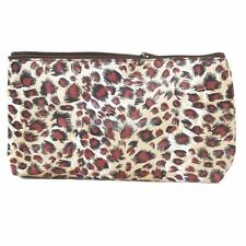 GOLD LEOPARD SATIN MAKEUP PENCIL CASE PURSE TRAVEL BAG ZIP TOP WITH MIRROR