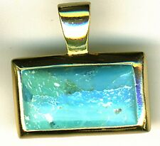 925 Sterling Silver Gold Plated Turquoise / Larimar Pendant  5.8 grams