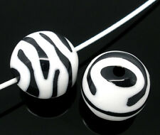 40 Hot Sell Zebra Striped Acrylic Spacer Round Beads 15mm