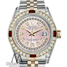 Women's Rolex Steel & Gold 31mm Datejust Watch Pink String Dial Ruby & Diamond
