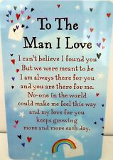 "HEARTWARMER KEEPSAKE MESSAGE CARD ""TO MAN I LOVE"" WITH LOVE POEM VALENTINE'S DAY"