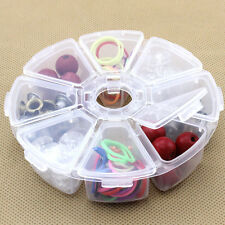 8 lots Storage Box  Case Organizer Display Jewelry Bead Makeup Clear Round