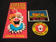 Vintage Circus Hall Of Fame Sticker, Decal, and Brochure Lot Sarasota Florida