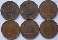 Malaysia 1 sen 1971 coin 6 pcs