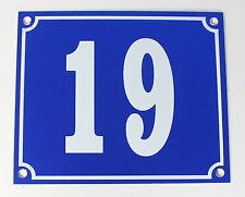 """Aluminium Hausnummer """"19"""" 12x10cm blau Hausnummernschild sofort lieferbar Schild"""