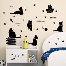 Cute Black Cat Wall Stickers Removable Kitchen Wallpaper Mural Home Decal