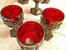 Set of 6 AVON CAPE COD RUBY RED 1876 COLLECTION LARGE WATER GOBLETS GLASSES