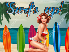 Surfs Up Sexy Pin Up Girl Metal Sign, Beach, Palm Tree, Den or Gameroom Decor