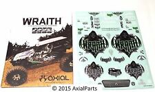 Axial Wraith RTR AX90018 Assembly Manual Parts List Sticker Sheet Decals