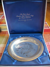 1970 FRANKLIN MINT CHRISTMAS PLATE*STERLING SILVER 925~NORMAN ROCKWELL HOME TREE