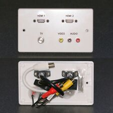 AV Wall / Face Plate, 2x HDMI / 3 Phono Audio & Video / TV sockets with tails