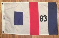 "Vintage Yacht Boat Flag Nautical Red White Blue Stripes 83 Worldflags 12""x19"""