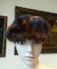 Vtg 50's Dark Chocolate Brown Genuine Mink Animal Fur Pill Box Hat