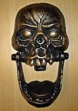 LARGE GOTHIC SKULL Cast Iron DOORKNOCKER - Antiqued Bronze - MEDIEVAL WICCAN