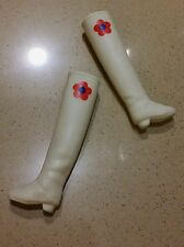 Blythe Used 1 pair x Original Accessories ( White & Flower ) Long Boots