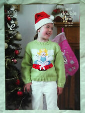 "King Cole Christmas DK Knitting pattern Childs Jumper  20-30"" Fairy Elf 3807"